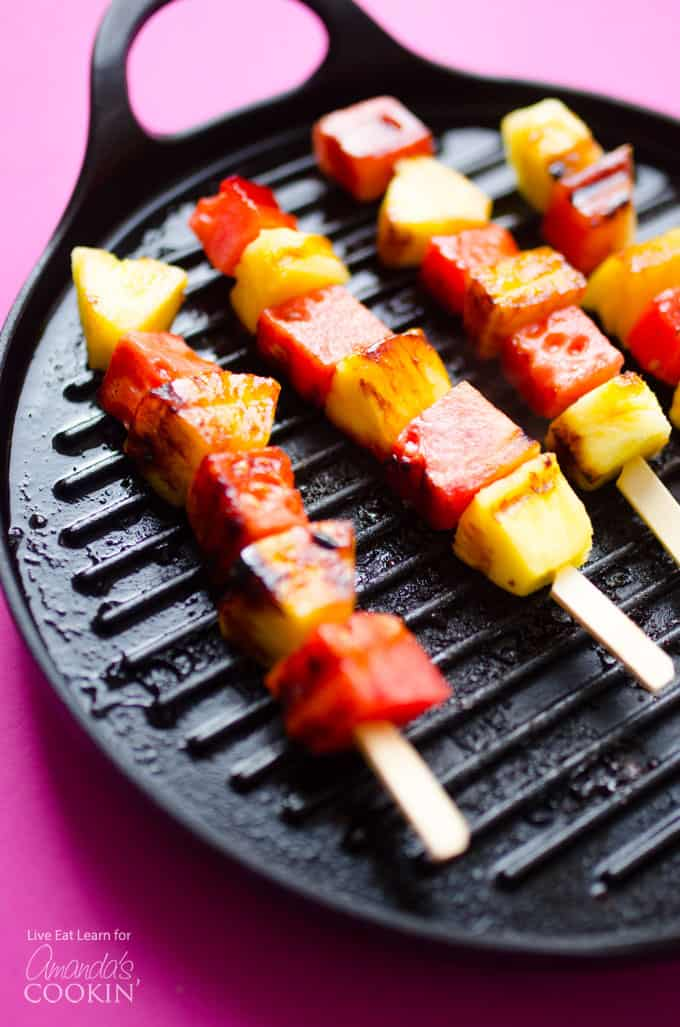 These Grilled Watermelon Pineapple Skewers have just 4 easy ingredients and are dipped in the most deliciously simple yogurt sauce!