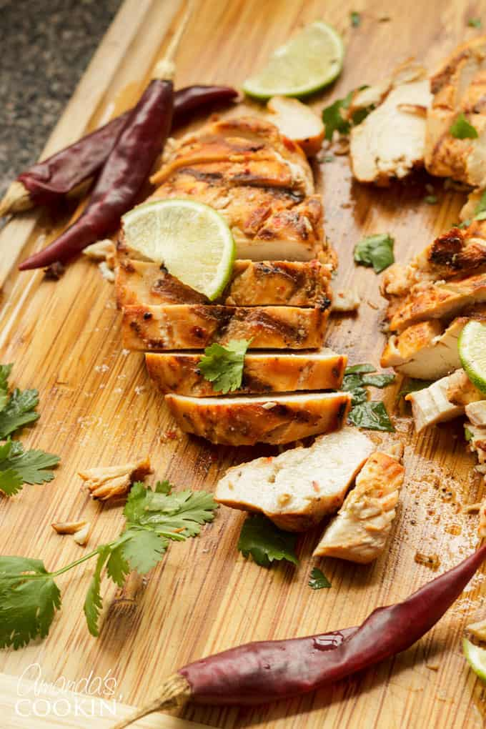 This marinade uses red chiles, jalapeno, and garlic, however you control the spice level! Enjoy this delicious chicken on the grill or use your stovetop grill pan.