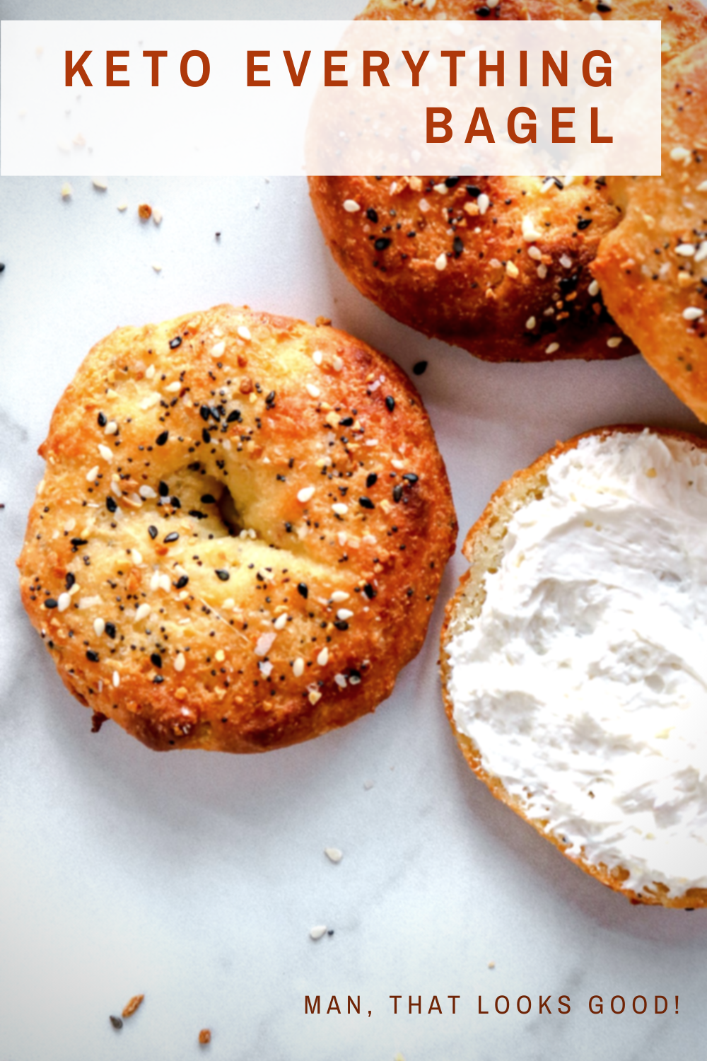 Finding good bagels is hard enough, but it's especially hard if you're sticking to a keto diet. But if you love bagels, then you will definitely love this keto bagel recipe that will have you filling up the toaster for seconds in no time. This recipe for Keto Everything Bagels is easy, even for beginners, and it's perfect if you're a bagel lover trying to stick to a keto diet. #manthatlooksgood #keto #lowcarb #recipe #ketorecipe #ketobagel #ketobagels #ketobreakfast #lowcarbbreakfast