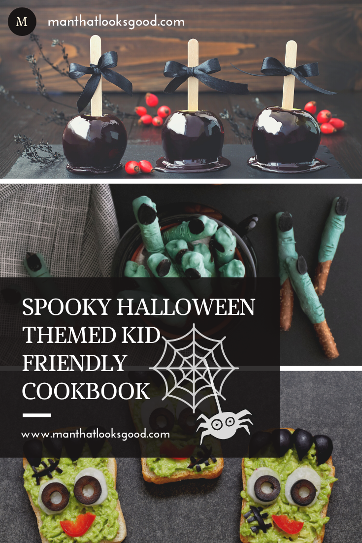Spend this Halloween in the kitchen with your kiddos making these spooky Halloween treats. Download a copy of our Free Halloween Cookbook! #halloween #halloweenfood #halloweencookbook #halloweenrecipes #freecookbook #manthatlooksgood