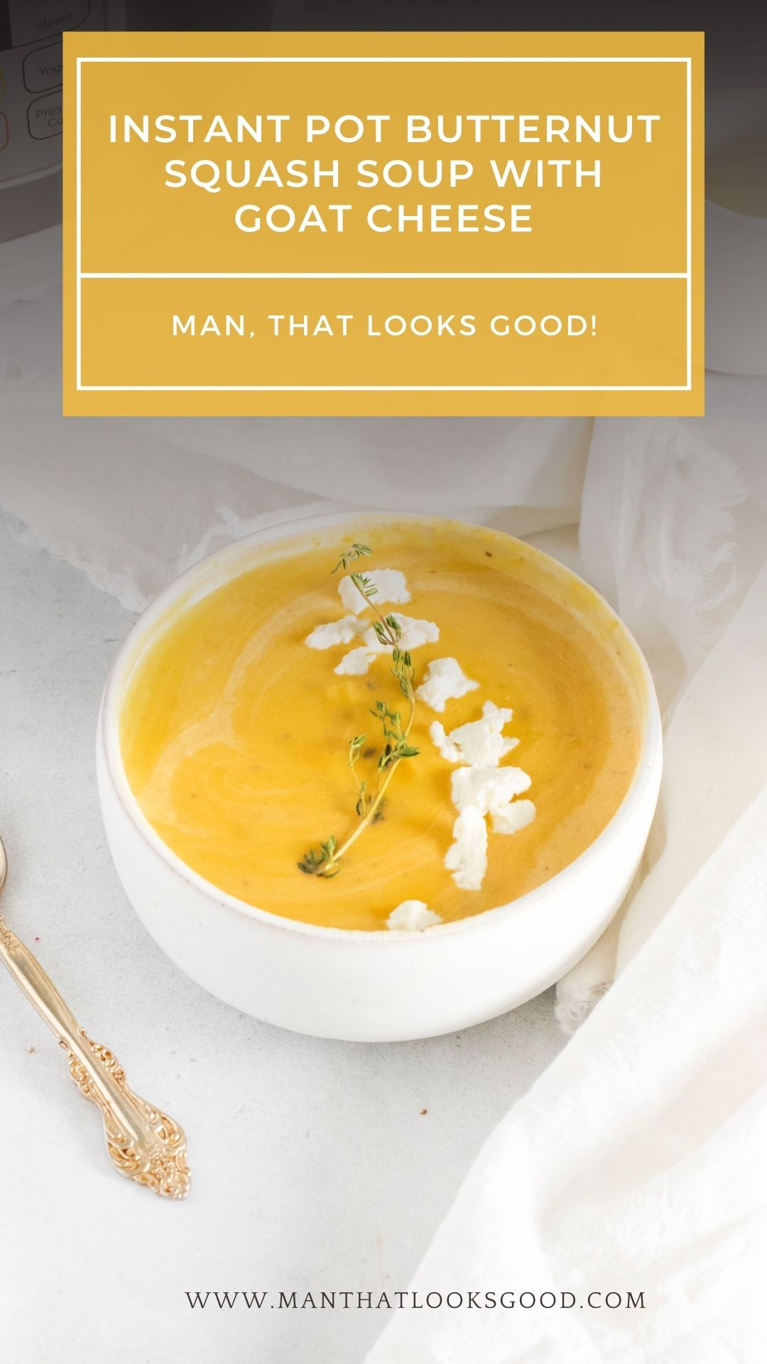 This Instant Pot Butternut Squash Soup with Goat Cheese is perfect for a crisp fall day. Check out this easy to follow recipe