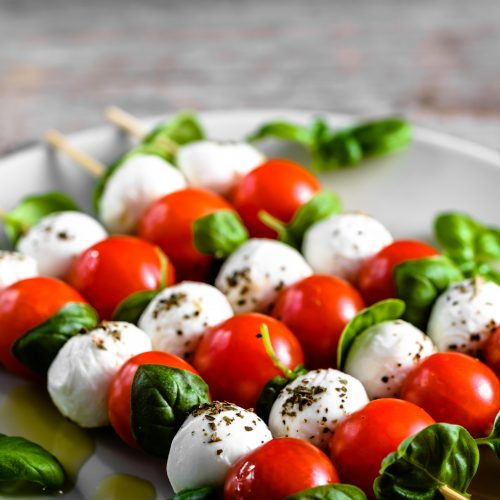 Classic Caprese Skewers With Olive Oil Drizzle - Man, That Looks Good!