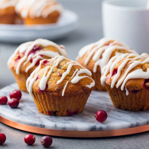 Switch up your breakfast routine with Glazed Cranberry Pecan Muffins made from scratch. They're a great alternative to cereal and good for breakfast on the go. Make ahead and freeze for a quick breakfast.