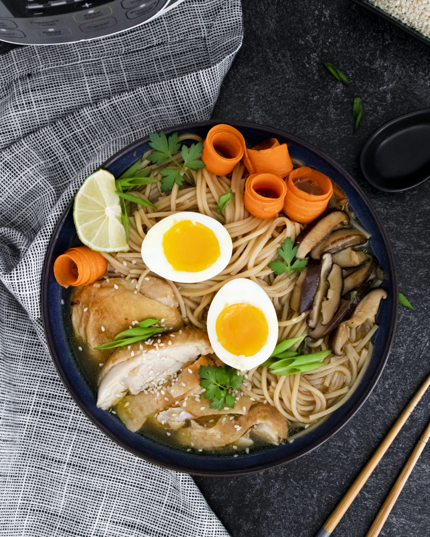 Quick and Easy Instant Pot Chicken Ramen With Sweet Chili Oil